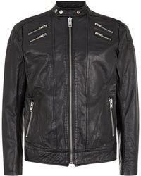 Diesel Zip Detail Leather Biker Jacket black - Lyst