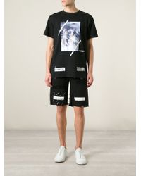 Off-White Printed Distressed Denim Shorts - Lyst