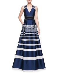 Carolina Herrera Striped Jacquard Gown - Lyst