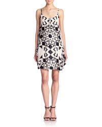 Alice + Olivia Rhi Draped-Side Printed Dress black - Lyst