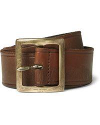 Saint Laurent Brown 3.5Cm Leather Belt - Lyst