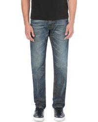 Diesel Krayver Tapered Mid-rise Denim Jeans Blue - Lyst