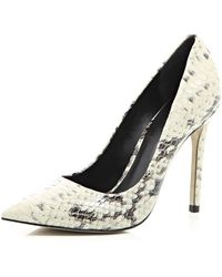 River Island Grey Snake Print Court Shoes - Lyst