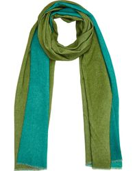Barneys New York Green Double-Faced Scarf - Lyst