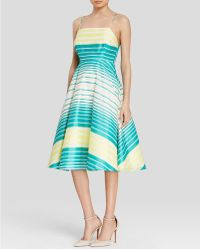 Tracy Reese Dress - Sleeveless Stripe Organza Fit And Flare - Blue