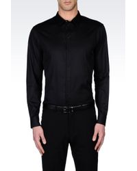 Armani Shirt In Silk And Cotton With Covered Buttons - Lyst