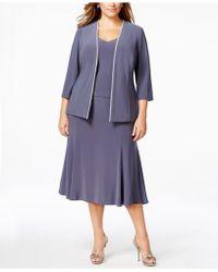 Alex Evenings Plus Size Rhinestone Dress And Jacket - Metallic