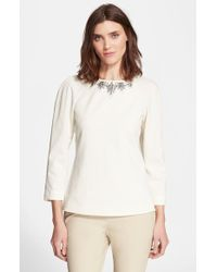 Ted Baker Textured Embellished Top - Lyst