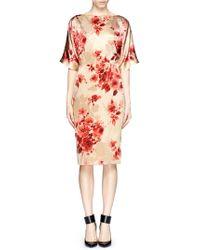 St. John Floral Print Charmeuse Dress - Lyst