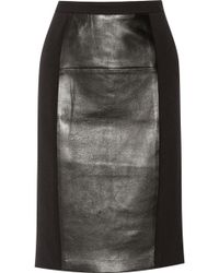MICHAEL Michael Kors Leather and Crepe Pencil Skirt - Lyst
