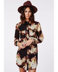 Missguided Holly Oversized Longline Shirt Dress Floral Print - Lyst