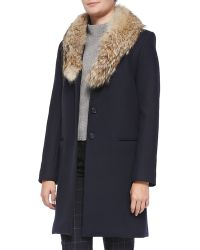 Theory Belize Nest Washed Fur-collar Jacket - Lyst