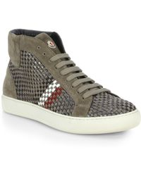 Moncler Montecarlo Leather High-Top Sneakers - Lyst