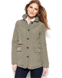 Jones New York Quilted Packable Jacket With Travel Bag - Lyst