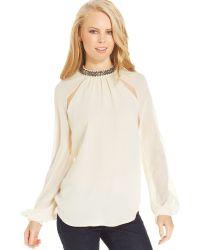 Jessica Simpson Brooke Chiffon Jewel-trim Top - Lyst