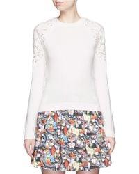 Alice + Olivia | 'lidia' Lace Sleeve Sweater | Lyst