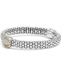 Lagos - Oval Diamond Station Sterling Silver Caviar Bracelet With 18k Gold - Lyst