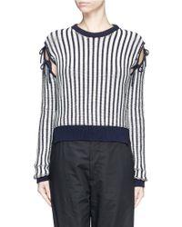 Cedric Charlier | Bow Cutout Shoulder Stripe Sweater | Lyst