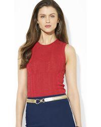 Ralph Lauren Lauren Sleeveless Crewneck Sweater - Red