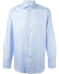 Canali Blue Textured Shirt - Lyst