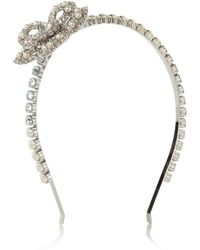 Miu Miu Palladiumplated Swarovski Crystal and Faux Pearl Headband - Lyst