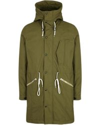 Paul Smith Olive Padded Cotton Blend Parka - Natural