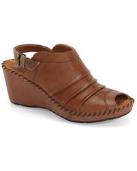 Bussola Baracoa Pleated Wedges - Brown
