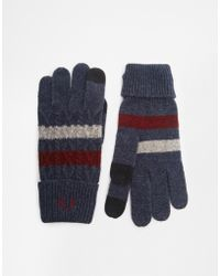Fred Perry Cable Tipped Touchscreen Gloves - Blue