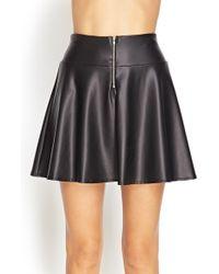 Forever 21 Faux Leather Skater Skirt - Lyst