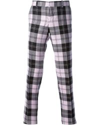 Alexander McQueen Tartan Slim Fit Trousers - Lyst