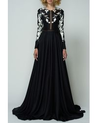 Bibhu Mohapatra | Black And White Leaf Gown | Lyst