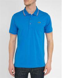 Lacoste   Blue Sport Piqué Polo Shirt With Orange/white Collar Trim   Lyst
