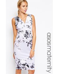 Asos Maternity Body-conscious Dress in Pastel Floral Scuba - Lyst