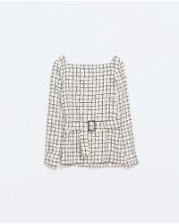 Zara Print Top with Belt - Lyst