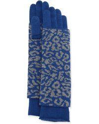Portolano Cashmere-Blend Animal Print Glove blue - Lyst