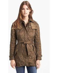 Burberry Brit - 'finsbridge' Belted Quilted Jacket - Lyst