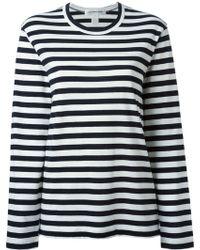 Comme Des Garçons Zip Detail Striped Sweatshirt - Lyst