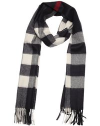 Burberry Dark Blue And White Check Cashmere Woven Scarf - Lyst