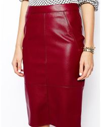 Asos Pencil Skirt In Leather Look - Lyst