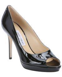 Jimmy Choo Black Patent Leather 'Luna' Peep Toe Pumps - Lyst
