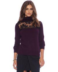 Mason by Michelle Mason Lace Turtleneck Sweater - Lyst