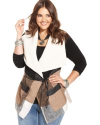 American Rag Plus Size Sherpa-lined Plaid Belted Vest - Lyst
