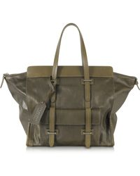 The Bridge - Olive Green Leather Tote - Lyst
