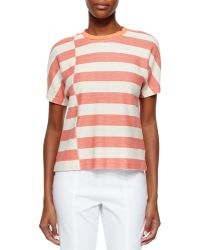 Tory Burch Short-Sleeve Striped Tee - Lyst