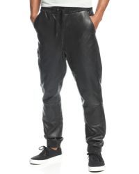 LRG Blackout Faux Leather Joggers - Lyst