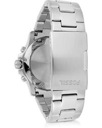 Fossil - Briggs Silver Tone Stainless Steel Men's Watch - Lyst