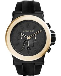 Michael Kors Oversized Dylan Silicone Golden Chronograph Watch - Lyst