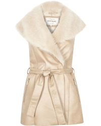 River Island Cream Faux Suede Belted Vest - Blue
