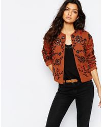 Mango Embroidered Trophy Jacket - Multi - Brown