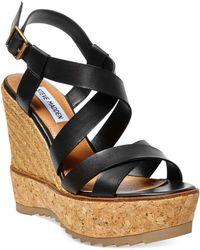 Steve Madden Ellaa Cork Platform Wedge Sandals - Lyst